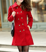 EY0074C 2015 Winter Women's coat collar Slim long section of double-breasted wool woolen coat thicker version