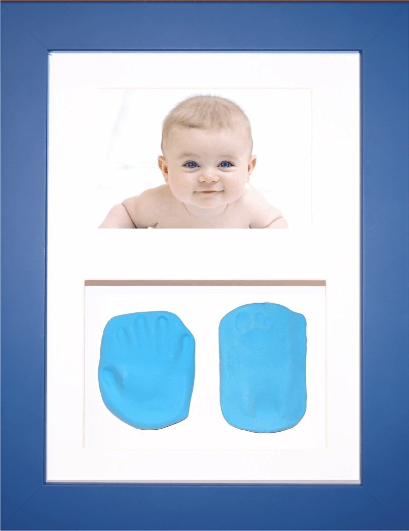 BabyRice New Baby Boy Gift Handprint & Footprint Imprints Mould Kit Blue Box Display Photo Frame & Soft Clay Dough