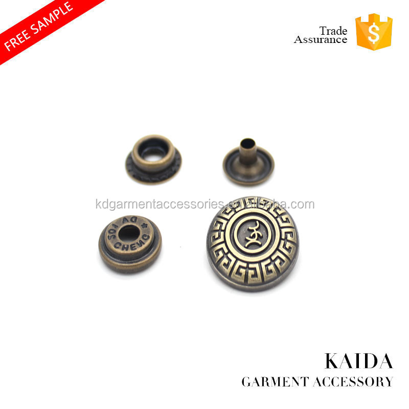 KAIDA Denim Custom Engraved Antique Bronze Metal Snap Button with Cheap Price
