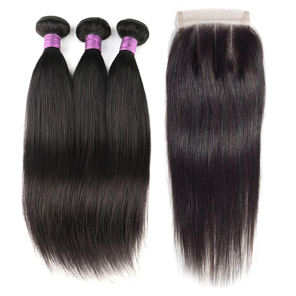 Toocci classic 3+1 Wholesale Virgin Indian Human Hair Cuticle Aligned Straight Weave 3 Bundles with Closure фото