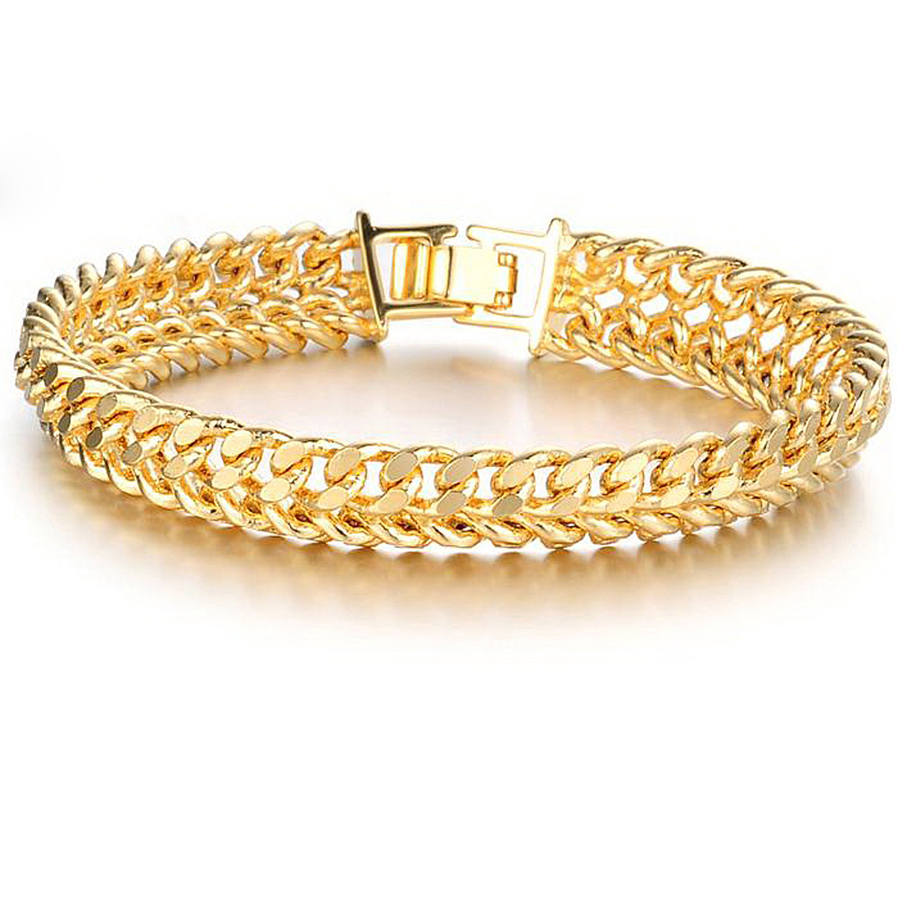 18K Gold plated bracelet chain charm jewelry men's ...