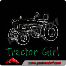 Hermosa rhinestone hot fix tractor chica vaquera granja rancho occidental