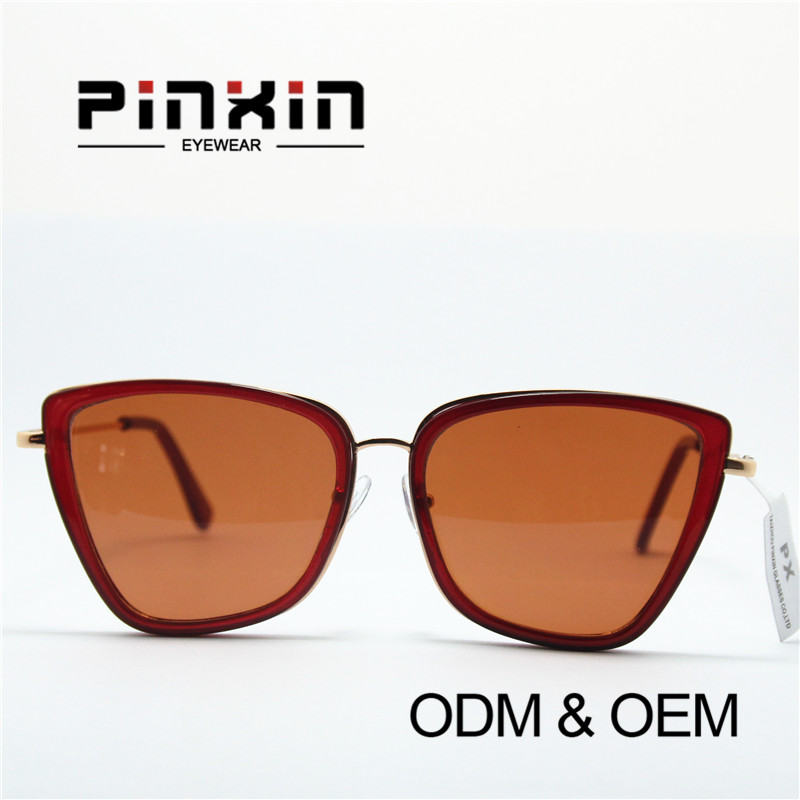 Pinxin(China)Rectangle Cat Eye Frame Fashion High Quality Clubmaster Sunglasses
