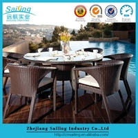 Sale Outdoor Wicker Furniture Oval Dining Table Chairs Set