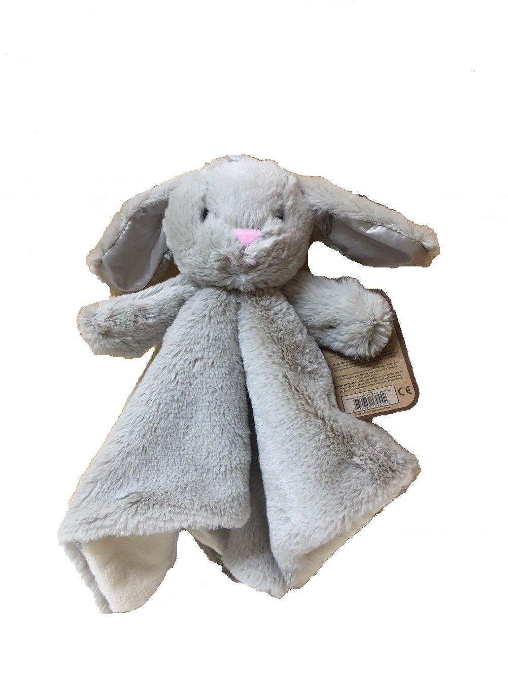 Kellytoy Baby Bunny Rabbit Security Plush Blanket With Lovey Rattle Grey