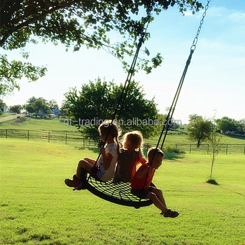 40 Wide Two Person Outdoor Round Tree Net Swing For Children