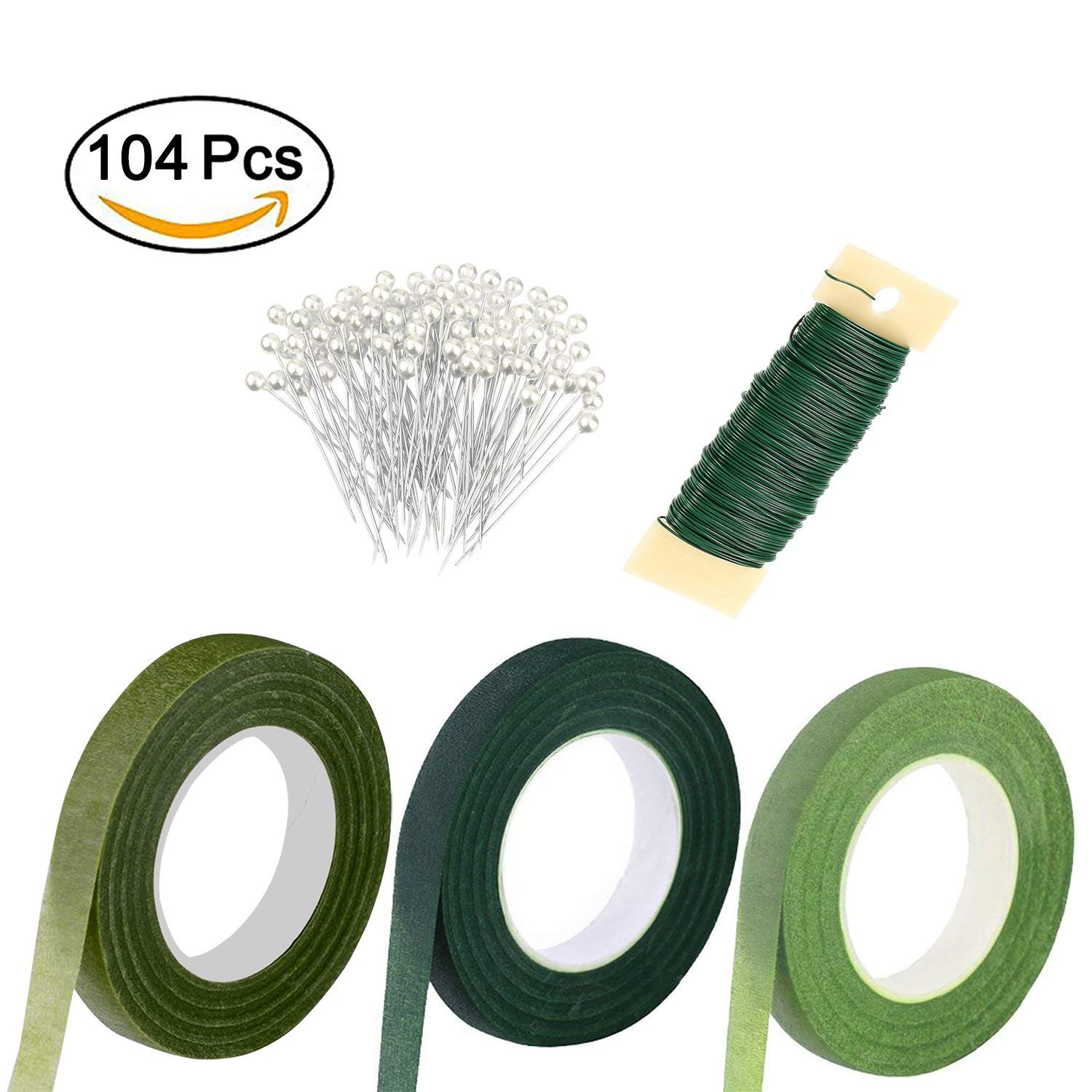 Piokio Floral Arrangement Kit 3PC 1/2 inch Floral Tape, 22 Gauge Floral Wire and 100 Pieces Ball Head Pins