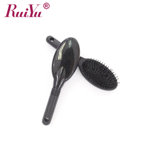 Boar Bristle Hair Extension Brush With Massage Dot, Dark Brown Color, Wooden Bar Bristle Hair Brush