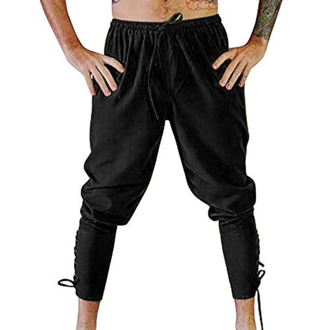 Dream_mimiMen's Fashion Autumn Jogger Solid Color Casual Drawstring Pants with Pants Sports Pants Trousers (L, Black)