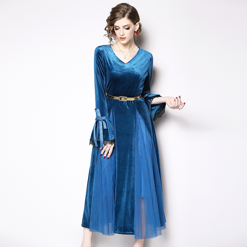 179ce9516b3298d Оптовая Продажа Длинные Flare рукавом Весна Элегантный V образным вырезом  элегантный бархат сетки лоскутное платье с