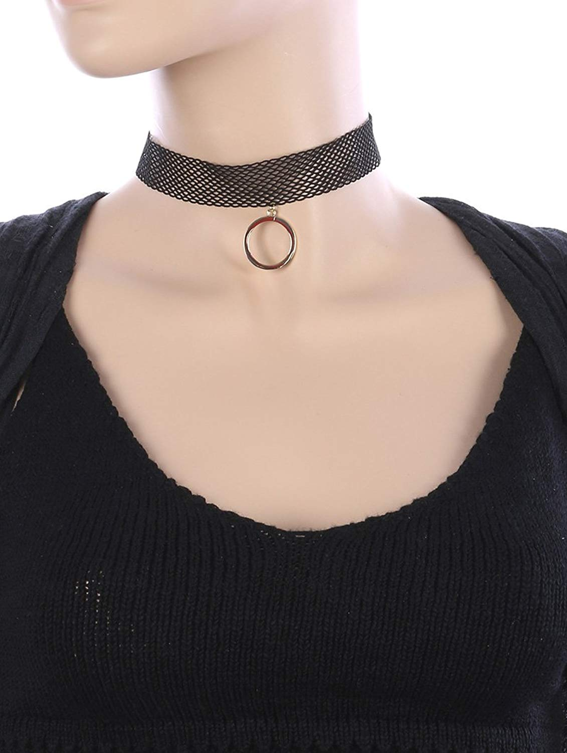 Destinees burgundy METAL RING CHARM FAUX LEATHER CHOKER NECKLACE