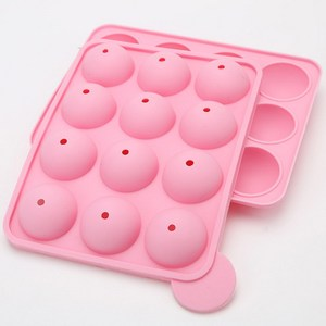 Food-Grade Pink Silicone Cake Mold Half Circle Lollipop Party Cupcake Baking Cake Pop Stick Mold