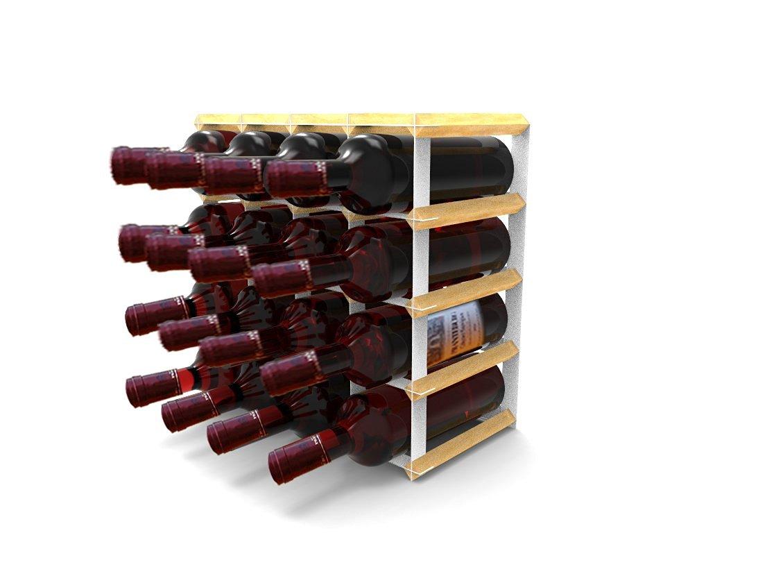Fixture Displays Tabletop Wine Rack Pine 16 Bottle Holder Wood Storage Kitchen Bar Countertop 15379 15379