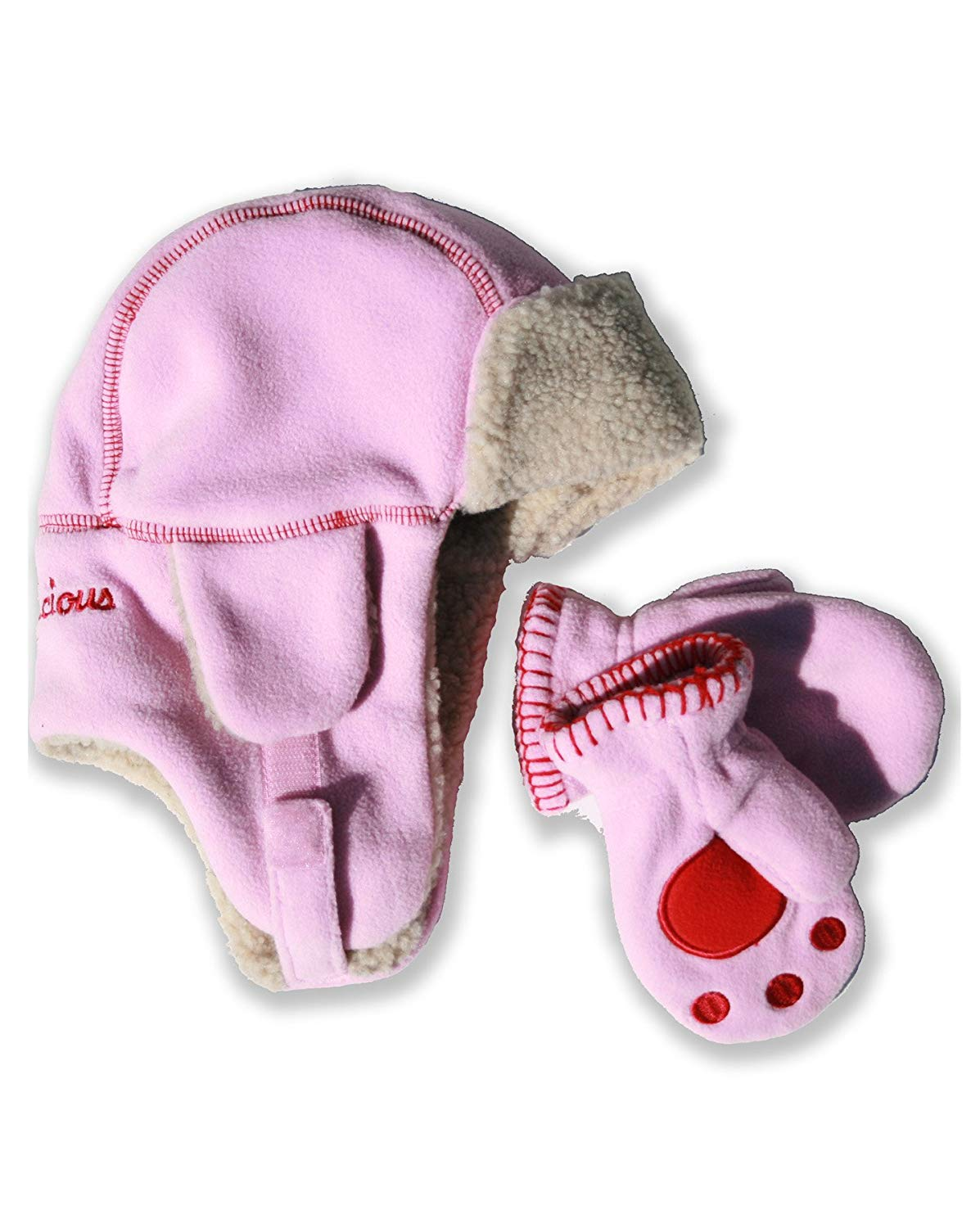 8de6034fef1 Get Quotations · Critterlicious Polar Fleece Children s Bomber style hat  and Mitten Set