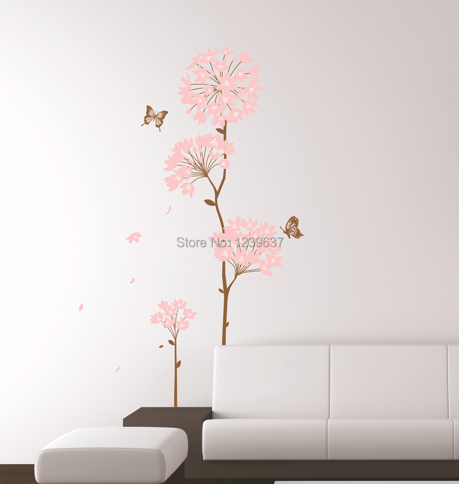 Pink hydrangea flower tree and butterflies wall decals - Removable wall stickers living room ...