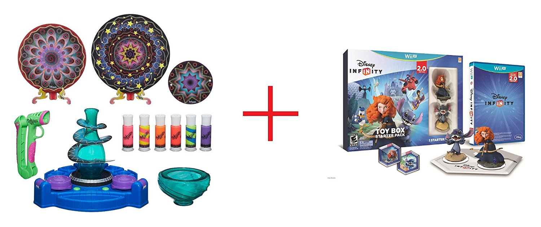 DohVinci Spotlight Spin Studio and Disney Infinity (2.0 Edition) Toy Box Starter Pack featuring Disney Originals for Nintendo Wii U - Bundle