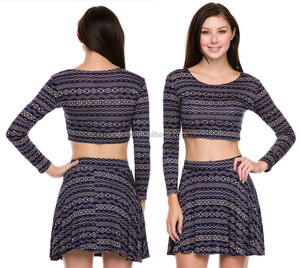ladies Long sleeve Aztec printed crop top and skirt set outfit