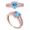 light weight design 21k rose gold blue cz ring with factory price