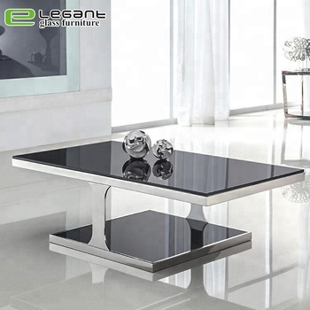 European Style Black Center Table Glass Square Coffee Table For