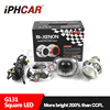 IPHCAR Square Hid Projector Lens for Car Headlight Retrofit DIY 3inch White Led Angel Eyes Ring Xenon Light