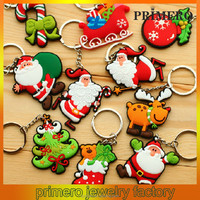 PRIMERO Holiday gifts soft pvc keychain Double sided rubber key chain christmas santa keychain