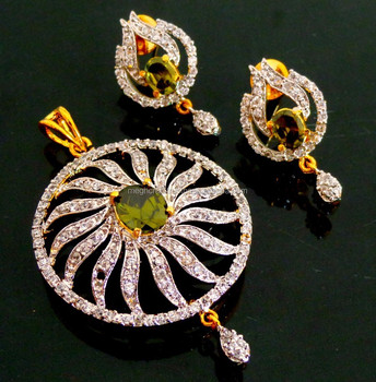 American Diamond Pendant Set Bollywood Jewelry Designer Indian