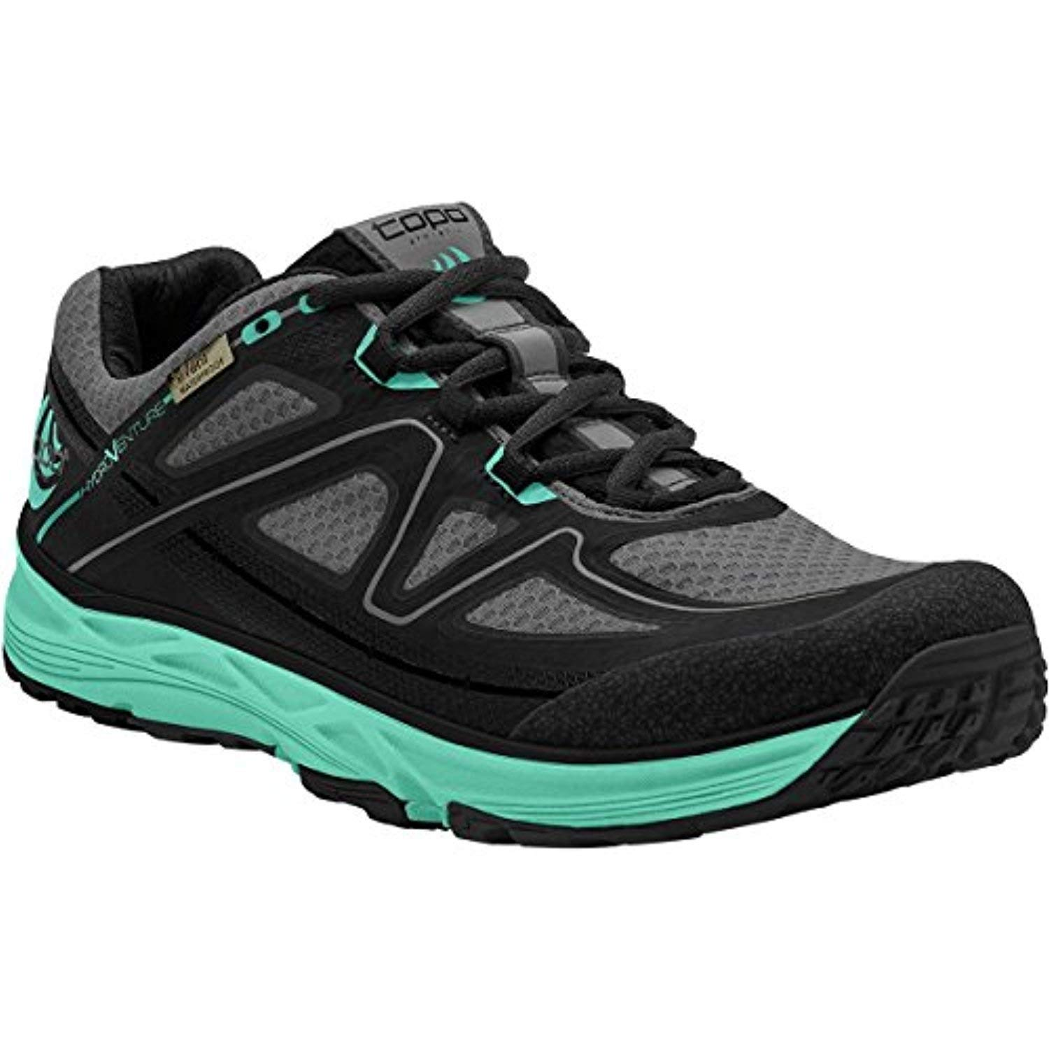 Topo Women's Hydroventure Trail Running Shoes Black/Turquoise 11 & Headband