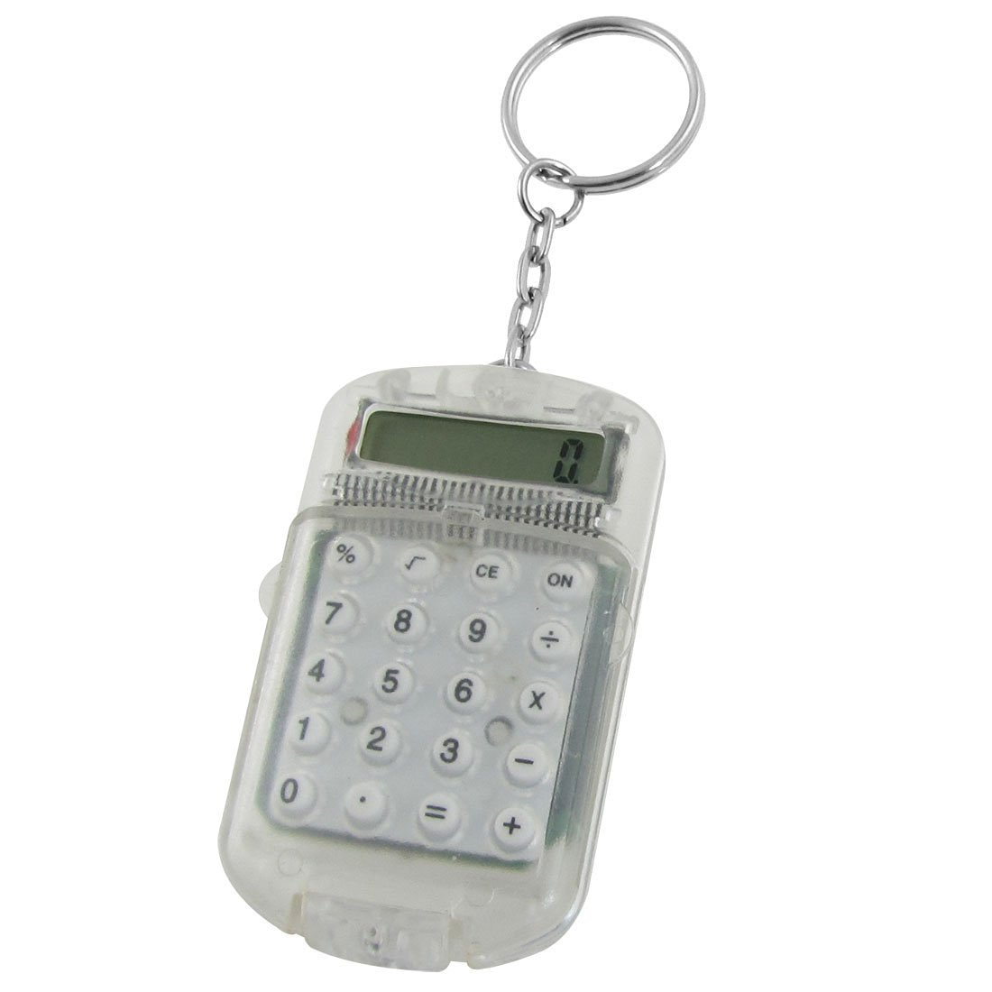 SODIAL(R) Clear Plastic Casing 8 Digits Electronic Mini Calculator w Keychain