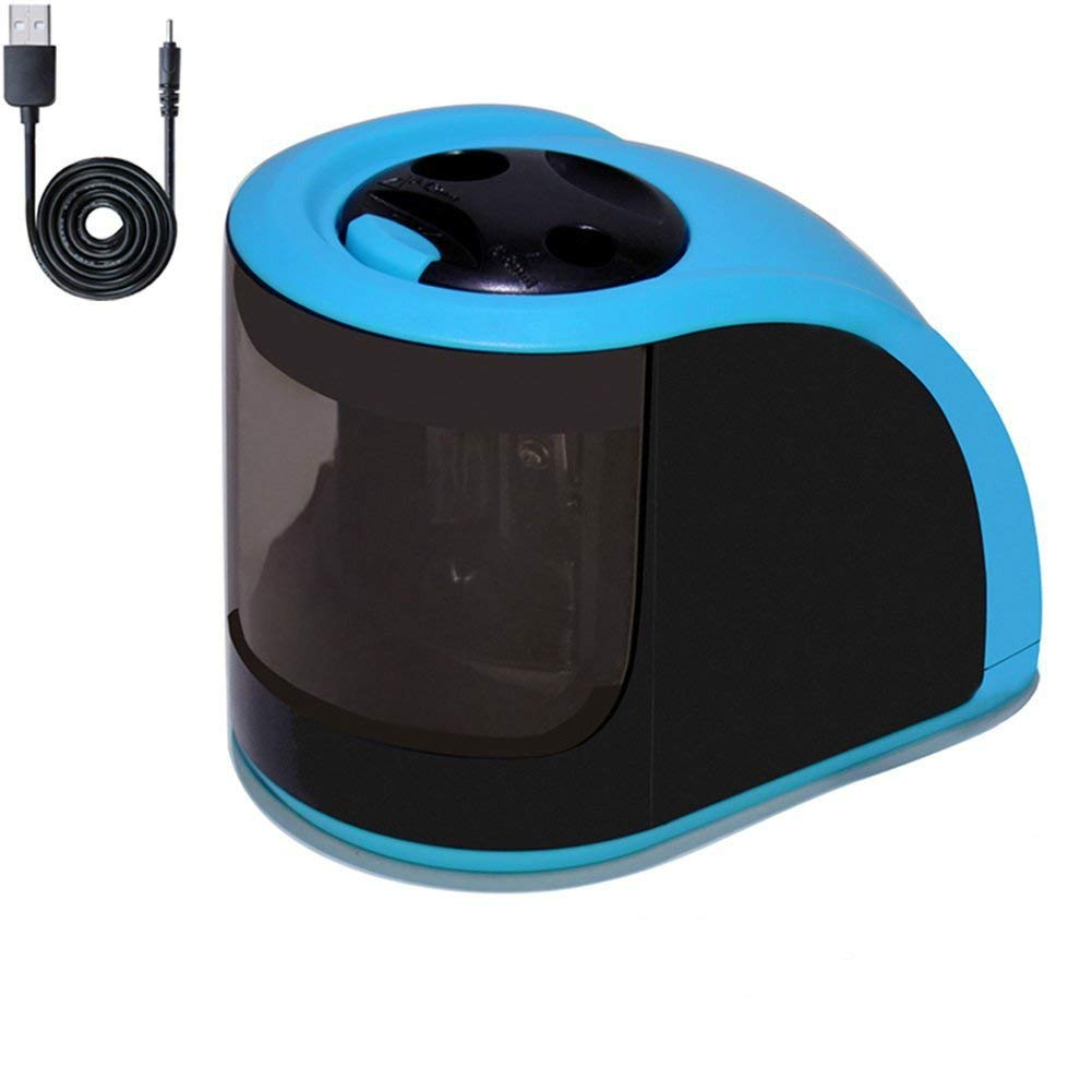 Electric Pencil Sharpener Portable Automatic Pencil Sharpener, Double Holes, USB or Battery Operated Blue-Black Pencil Sharpener Electric, Perfect Gift for Kids, Student, Artist