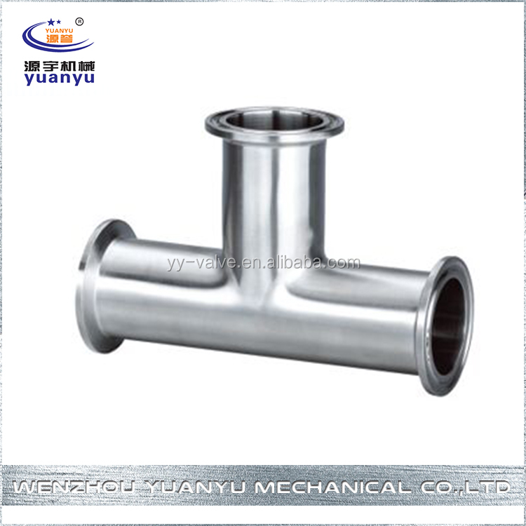 3A Sanitary Stainless Steel Tri clamped Long Radius Equal Tee