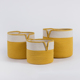 Decorative home decor yellow colored gift round laundry basket custom storage bins container 3 set cotton rope hamper