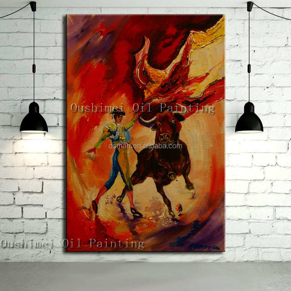 Hand-painted Spanish Warrior Mans Games Hand Painted Unique Abstract Bullfight Oil Painting On Canvas Spain Bullfight Oil Paints