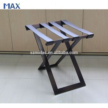 Brown Square Metal Foldable Luggage Rack For Bedroom
