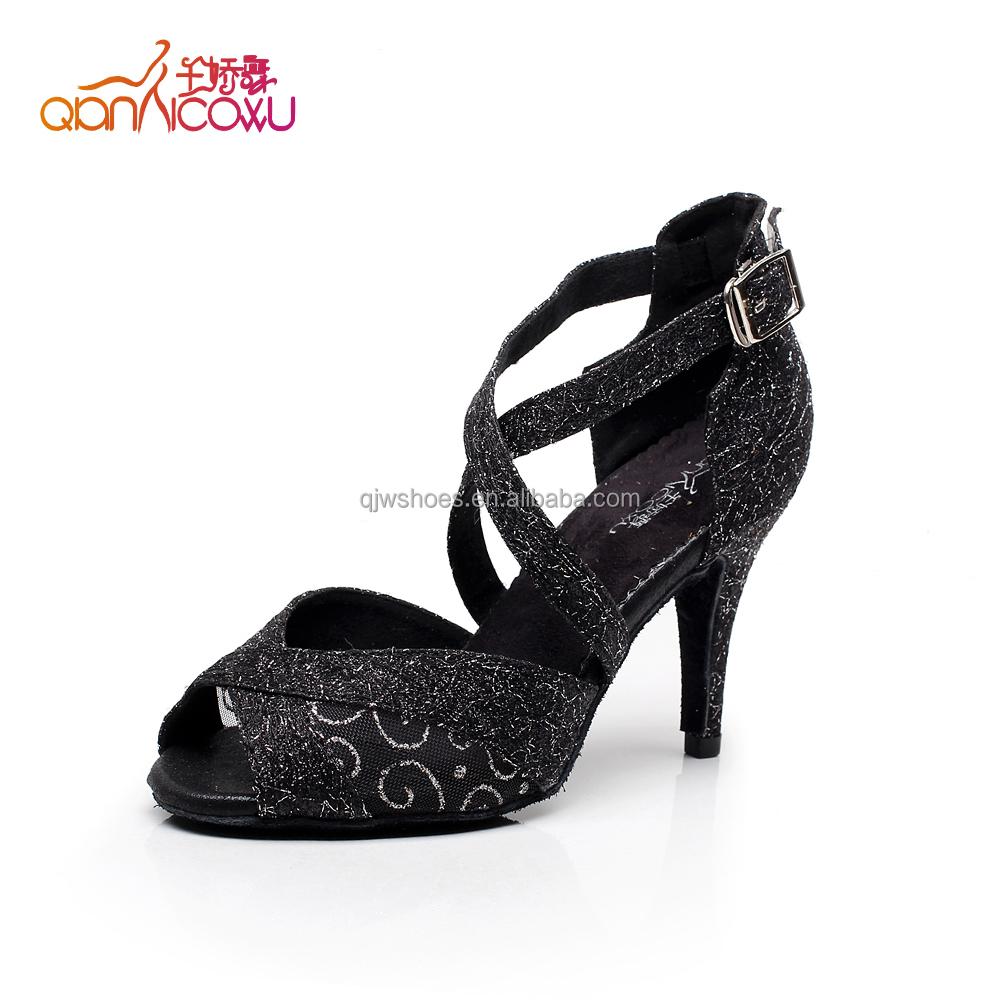 Alibaba.com / 2019 latest lady satin dance shoes with fashionable stone overlay- gold/skin