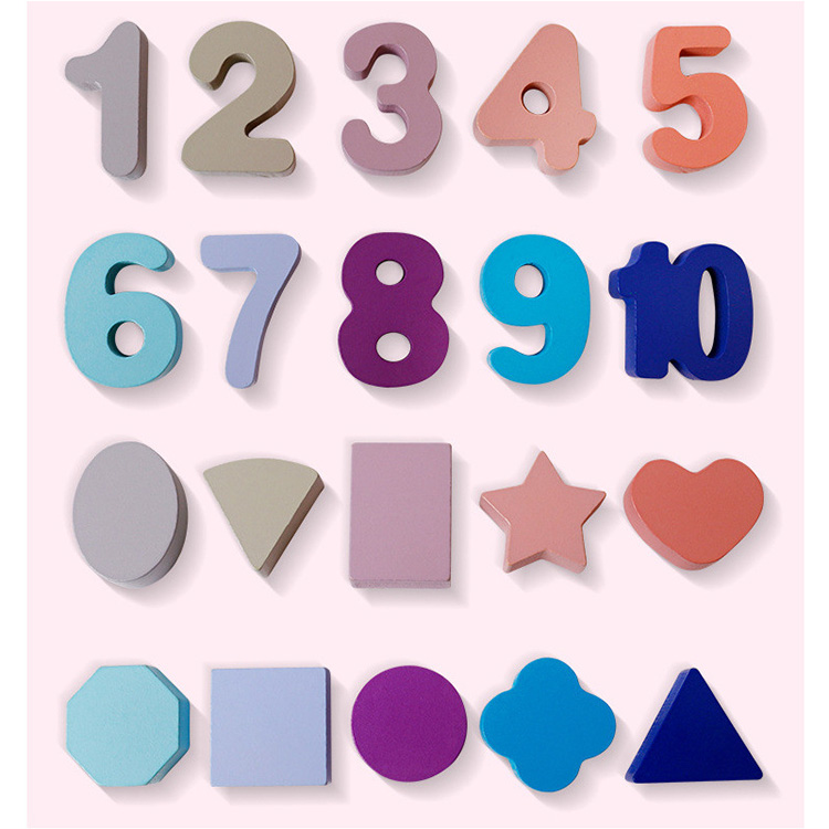educational 3 in 1 shape number recognition activity matching board wooden number toy