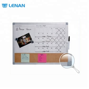 Aluminum frame magnetic printed dry erase white board cork pin bulletin notice board