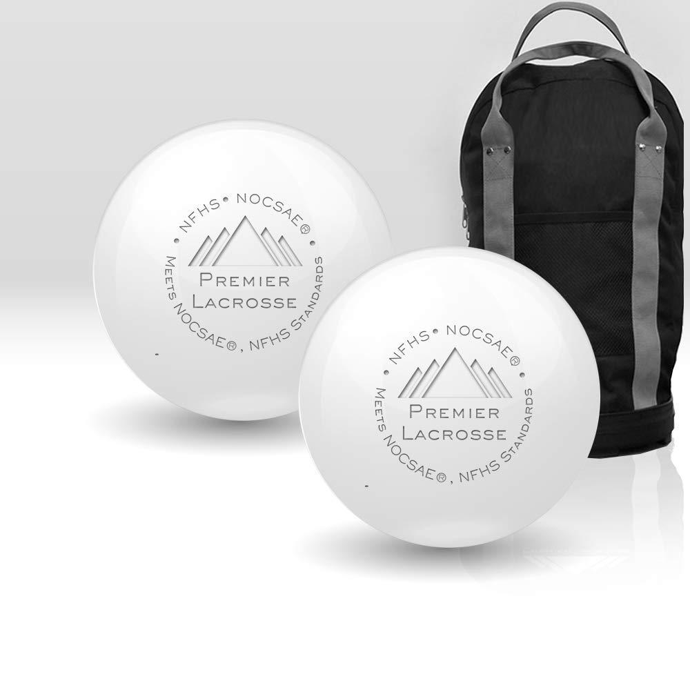 Premier Lacrosse Balls Bundle Quality Ball Bag - NFHS/NCAA | Lacrosse Balls Bulk | Greaseless Balls Consistent Passes - 1/15/20/30/50/90 Packs/White Balls