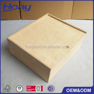 Wholesale Stylish Natural Cheap Price Birch Wood Gift Packaging Box with Slide Top