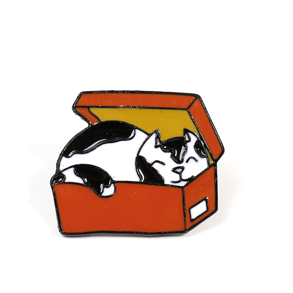 Pin Brooches Box Cat Multicolor Enamel Fashionable Costume Jewelry