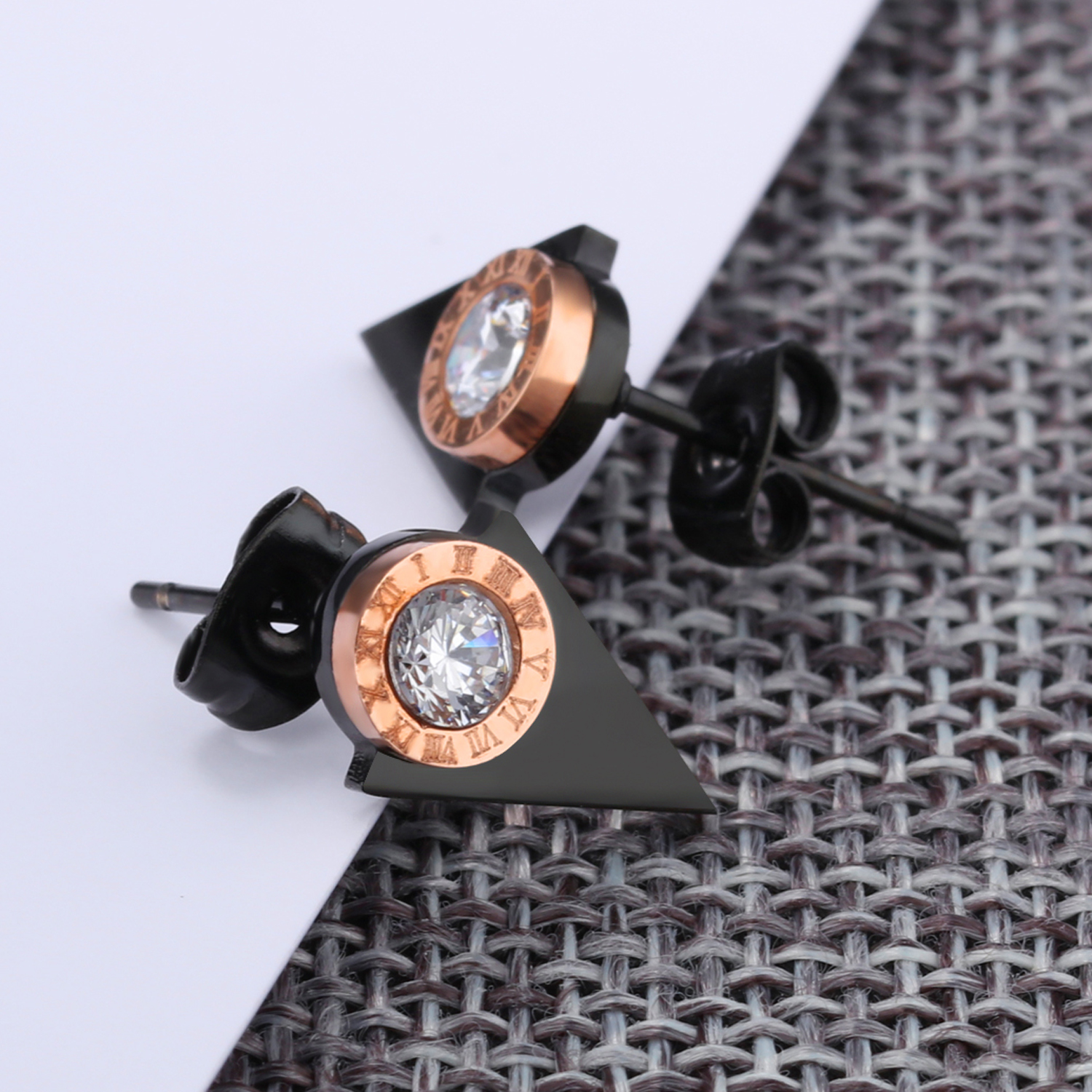 Customized Rose Gold Round Zircon Black Triangle Big Stud Earring