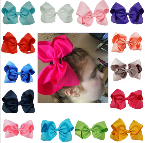 8 inch Big Hair Bow Boutique Solid Grosgrain Ribbon Hairgrips Hair Clips Headwear Barrette Bowknot For Girls Accessories