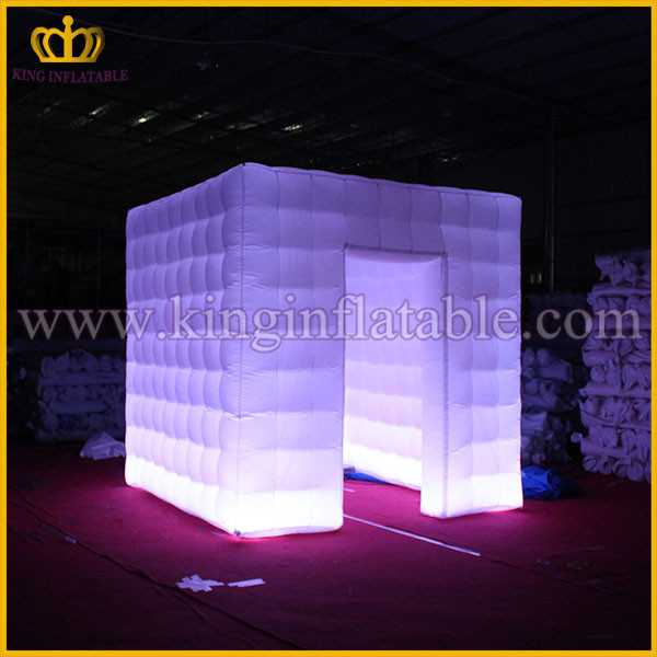 Party Decoration Cube Inflatable DJ Studio Kiosks, LED Inflatable Photo Booth Enclosure