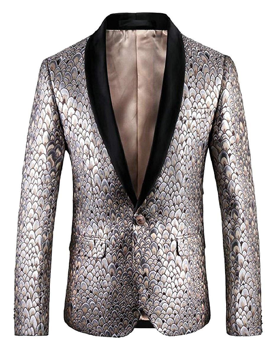 ccd3110c Get Quotations · CBTLVSN Men Stylish Two Button Conversion Shiny Sequins  Blazer Suit Jacket