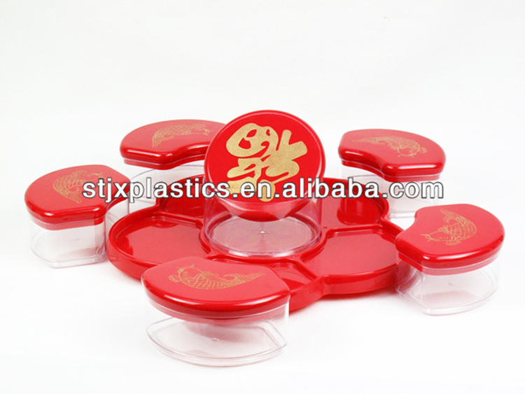 Rotatable print LOGO see through plastic candy box