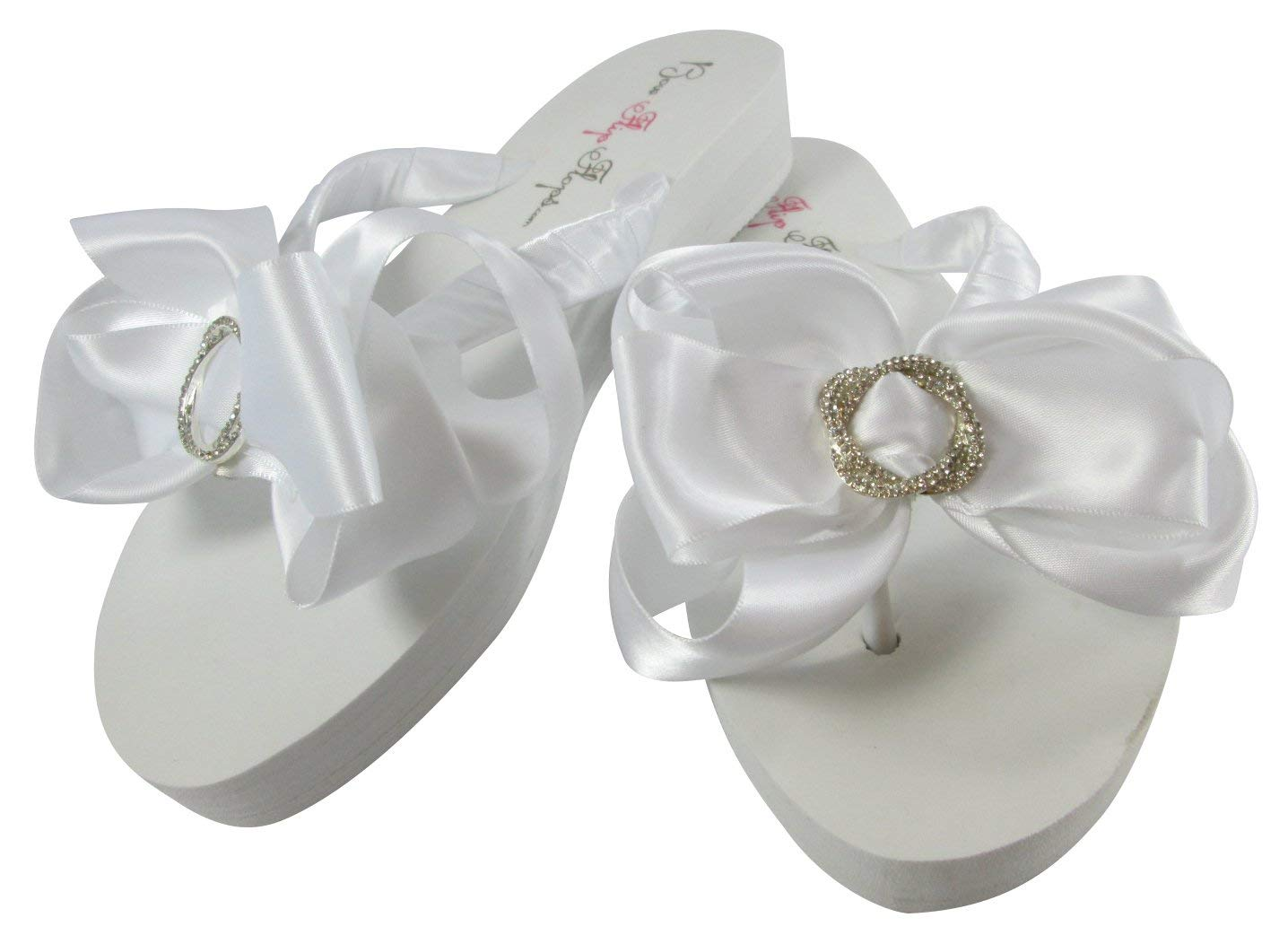 3f5c40054a71d9 Get Quotations · Infinity Circle Rhinestone Satin Bow Flip Flops - custom  colors and heel height