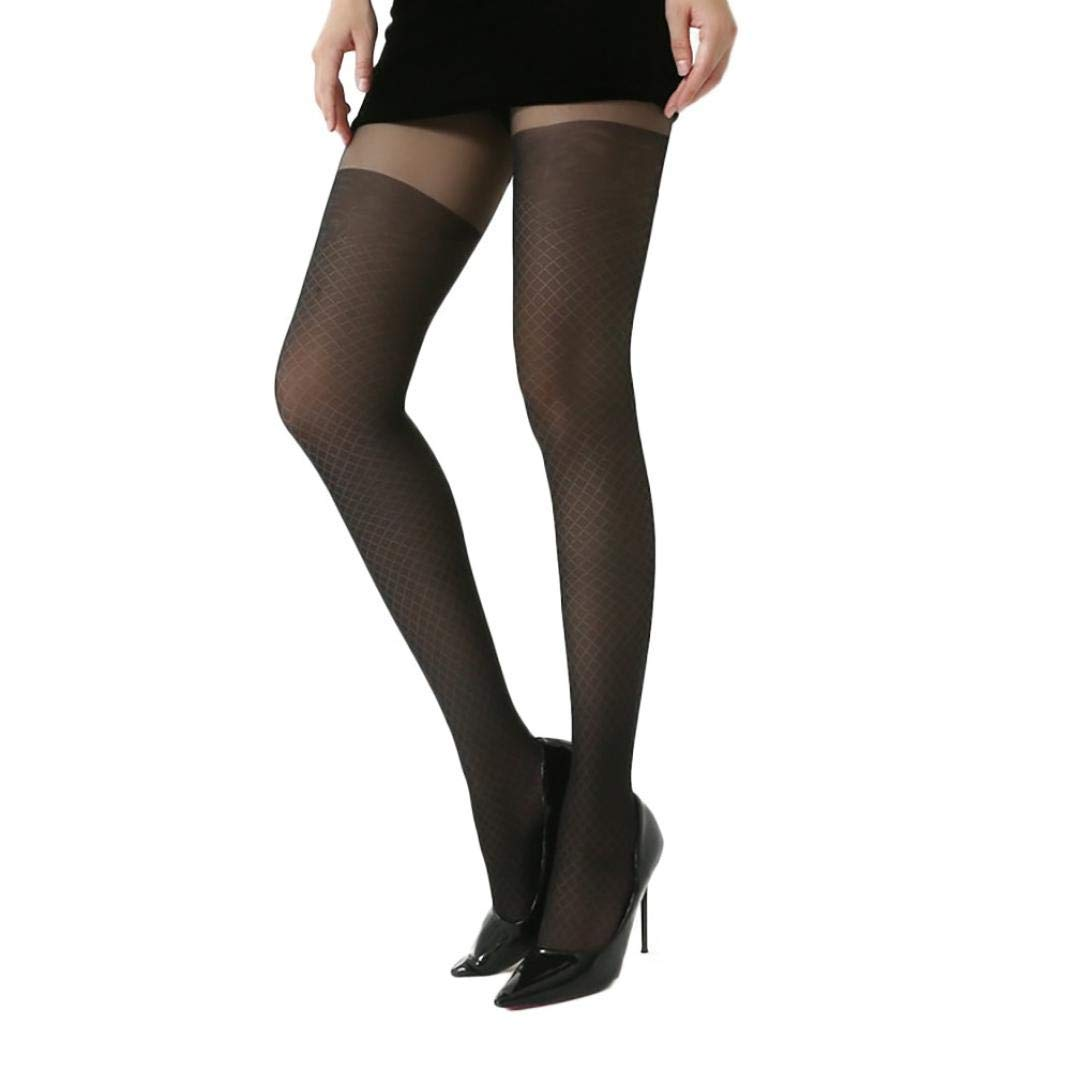 Appoi Sexy Womens Print Lingerie Lace Tights Hose Crotchless High Waist Bodystocking Thigh High Stockings Pantyhose (C, Black)