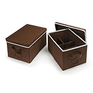 Badger Basket Espresso Medium Folding Storage Baskets with Adjustable Dividers (Set of 2)
