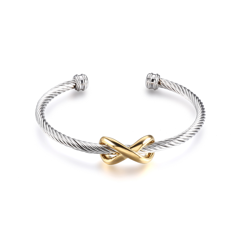 Trendy Silver Plated Infinity Symbol Stainless Steel Wire Cuff Bangle Bracelet, Silver;gold