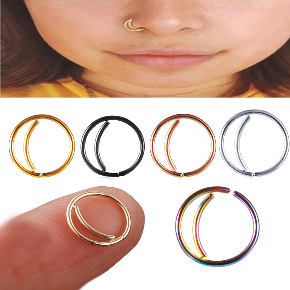 Stainless Steel Moon Nose Ring Hoop Indian Septum Rings Nose Jewelry Piercing Small Nose Hoop Piercings For Woman Man Buy At The Price Of 0 97 In Alibaba Com
