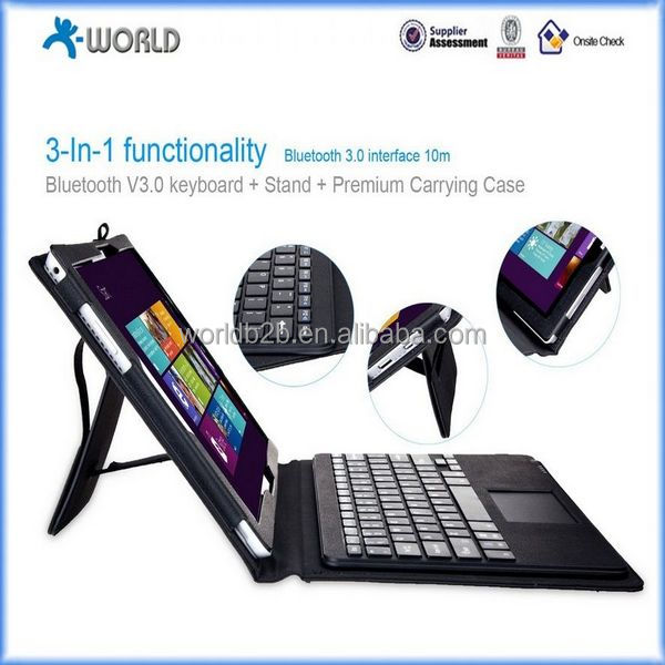 wireless Bluetooth Keyboard Case with Touchpad - Portfolio PU Leather Stand Case / Cover for Microsoft Surface Pro 3 12 inch